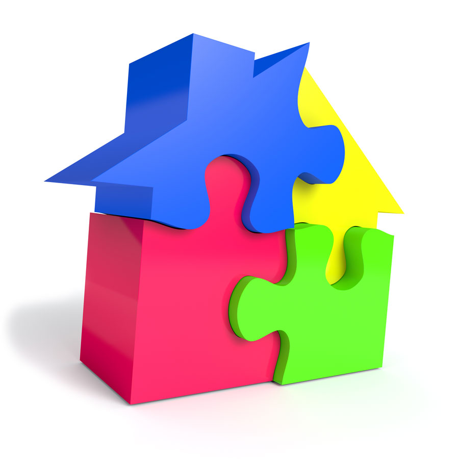 Image of a house as a puzzle