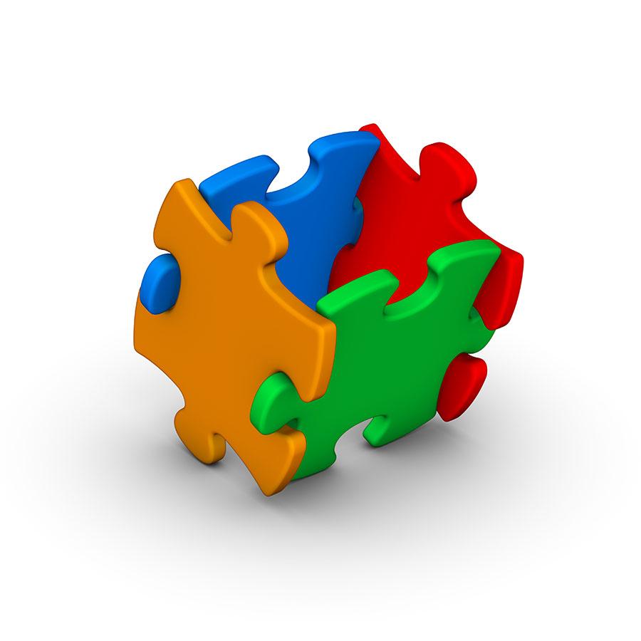 3D Cube of puzzle pieces