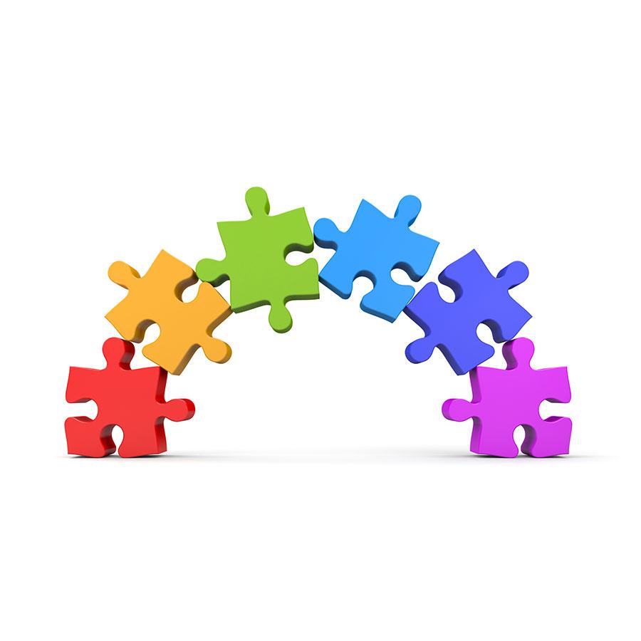 Arch of puzzle pieces