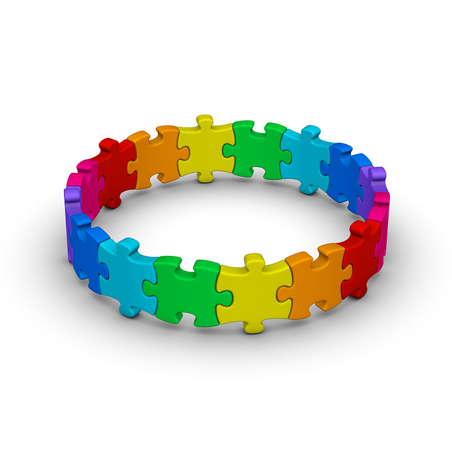 3D Circle of puzzle pieces