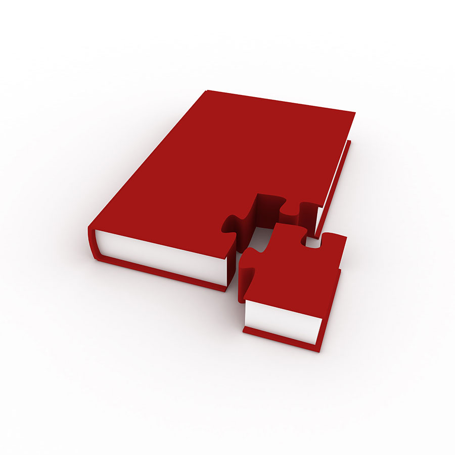 Red 3D Book with corner separated as a puzzle piece.