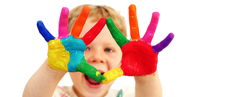 Image of a boy with painted hands