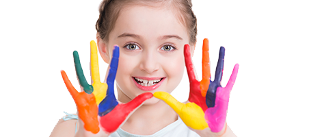 Image of a girl with painted hands