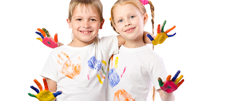 Image of a boy and girl with painted hands